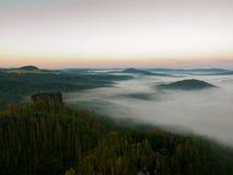 Solig höstmorgon ovanför dödskog på den steniga kullen Torra stammar klibbar upp Royaltyfria Bilder