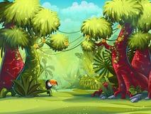 Solig morgon för illustration i djungeln med fågeltukan vektor illustrationer