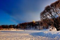 Solig och frostig dag Fotografering för Bildbyråer