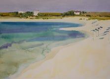Solig sandig strand för vattenfärg royaltyfri bild