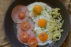 Solig sida upp ägg med gräslökar, tomater, peppar och salami Royaltyfri Bild