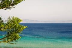 Solig sikt på havet, Rhodes, Grekland Royaltyfri Foto