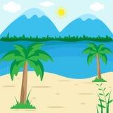 Solig sommarstrand - vektorillustration, semesterperiodlandskapbakgrund royaltyfri illustrationer