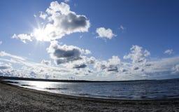 solig strand Arkivfoto