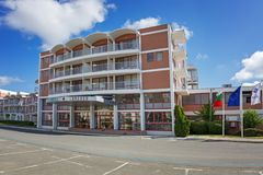 SOLIG STRAND, BULGARIEN - September 9, 2017: hotell Longoza Arkivfoton