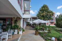 SOLIG STRAND, BULGARIEN - September 9, 2017: hotell Longoza Arkivbild