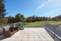 Solig terrass av huset Royaltyfria Bilder