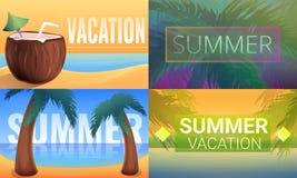 Solig tropisk semesterortbaneruppsättning, tecknad filmstil royaltyfri illustrationer