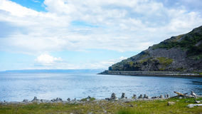Solig väglag i Norge med berg arkivbilder