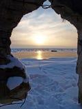 solig vinter för lake Arkivfoton