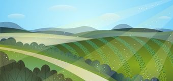Soliga fält för sommarlandskapgräsplan Skördkullar stock illustrationer