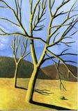 soliga trees royaltyfri illustrationer