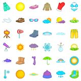 Soliga vädersymboler uppsättning, tecknad filmstil Royaltyfri Fotografi