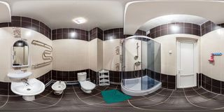 SOLIGORSK, BELARUS -  DECEMBER 2013: Full seamless 360 degree angle panorama Inside of the interior of empty bathroom restroom in royalty free stock image