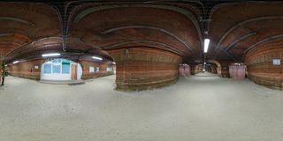 SOLIGORSK , BELARUS - SEPTEMBER, 2013:  Full Seamless Spherical Panorama 360 Degrees In Interior Of Hospital Caving In Cave Of Royalty Free Stock Images