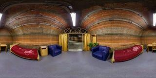 SOLIGORSK, BIELORRUSIA - MARZO DE 2014: Los 360 grados esféricos inconsútiles completos pescan el interior del panorama con caña  fotografía de archivo libre de regalías