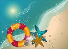 Soligt begrepp för sommarstrand, tecken, vektorbakgrund, illustration royaltyfri illustrationer