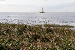 soligt hav för fartygdaggreece liggande Arkivfoton