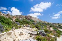 Soligt landskap av den norr delen av den Gozo ön på Malta Royaltyfri Foto