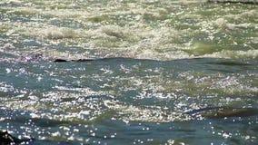 Soligt mousserar i den breda bergfloden, vatten som över flödar, vaggar arkivfilmer
