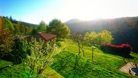 Soligt och drömlikt Galiciansemesterlandskap Arkivfoto