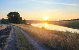Soligt sommarlandskap med den jordlandsvägen, floden och resningsolen royaltyfri bild