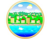 soligt stadsplanet Royaltyfri Fotografi