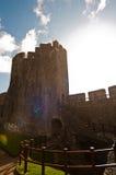 Soligt walesiskt slott Arkivbilder