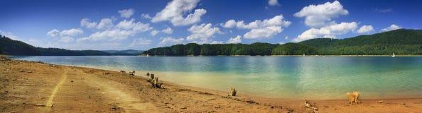Solina湖的全景图象 图库摄影