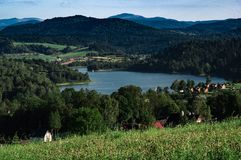 Solina lake. View at Solina lake from Polanczyk, bath resort at Bieszczady mountain stock photography