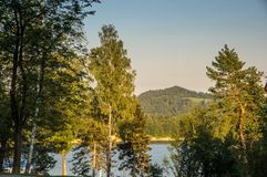 Solina lake. View at Solina lake IN Poland. beautyfyyl golden colors royalty free stock photo