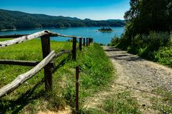 Solina lake. View at Solina lake IN Poland. beautyfyyl golden colors stock image