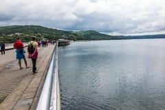 Solina, Polen -18 Juli 2016: De dam op de San-Rivier in Polen Stock Afbeelding