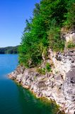 Solina. A  vliff on of Solina lake. ieszczady mountains stock image