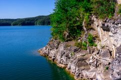 Solina. A  vliff on of Solina lake. ieszczady mountains stock photography