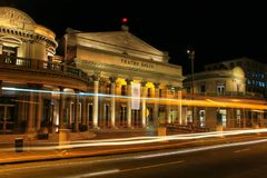 Solis Theater at night with traffic lights in Montevideo old tow. N, Uruguay. It was opened in 1856 Royalty Free Stock Photography