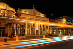 Solis Theater at night with traffic lights in Montevideo old tow. N, Uruguay. It was opened in 1856 Royalty Free Stock Photos