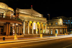 Solis Theater at night with traffic lights in Montevideo old tow. N, Uruguay. It was opened in 1856 Royalty Free Stock Images