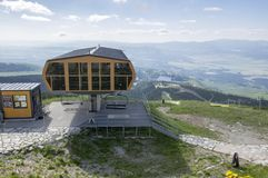Solisko, Hight Tatras mountains / Slovakia - July 5, 2017 - Modern chair lift is operation also during summer season for hiking royalty free stock images