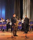 Solista no saxofone Imagens de Stock Royalty Free