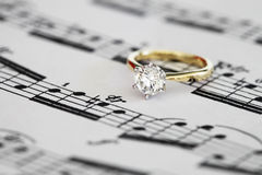 Solitaire engagement ring Stock Image