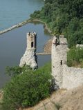 Solitaire guardians. Towers above junction of Danube and Moravia rivers Stock Image