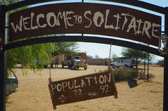 Solitaire, Namibia. Population changes. Entrance of Solitaire, Namibia. Population changes Stock Images