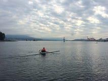 Solitaire Roeier bij dagonderbreking, de Haven van Vancouver, Brits Colombia, Canada stock afbeeldingen