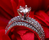 Solitaire wedding ring. Beautiful shot of diamond wedding ring Stock Image
