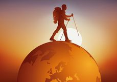 Concept of traveler with a man walking around the earth. vector illustration