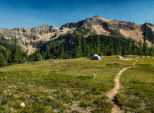 Solitary backpacking tent Stock Images
