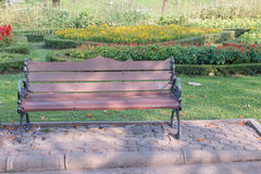 Solitary bench in park Stock Photos