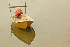 Solitary boat. Anchored stock photo