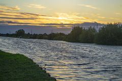 Solitary boat on the Aire and Calder canal Stock Image